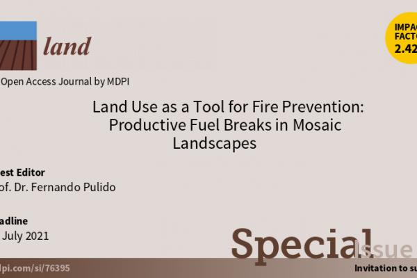 Fernando Pulido: editor invitado de la revista Land (MDPI) en el número especial dedicado a la prevención de incendios a través de los cortafuegos productivos de paisajes en mosaico
